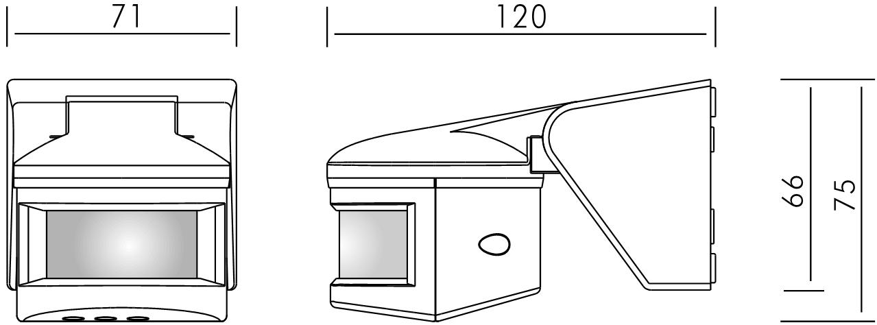 dimensiones del detector de movimiento